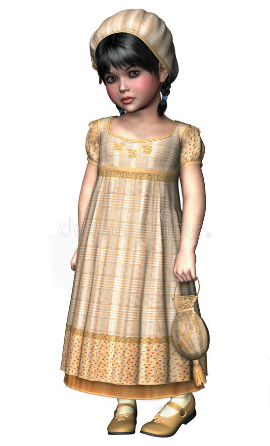 Little girl in yellow Victorian costume vector illustration