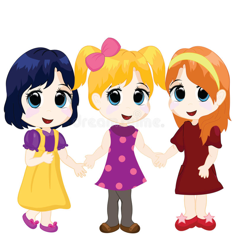 Download Little girls stock vector. Illustration of class, friends - 14335319