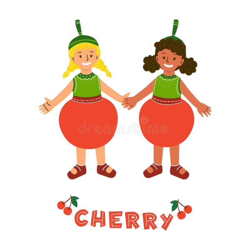 Little girls in cherry fruit costumes. Little girls characters in cherry fruit costumes. Kids dressed for kindergarten, school performance, show, carnival. Red royalty free illustration