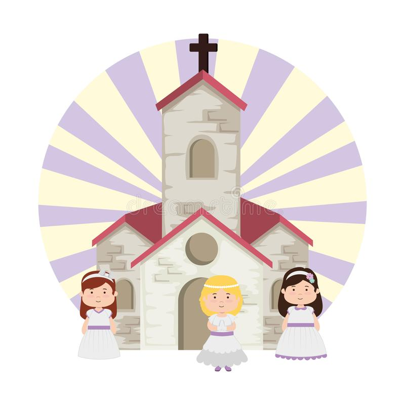 Little girls in church first communion vector illustration