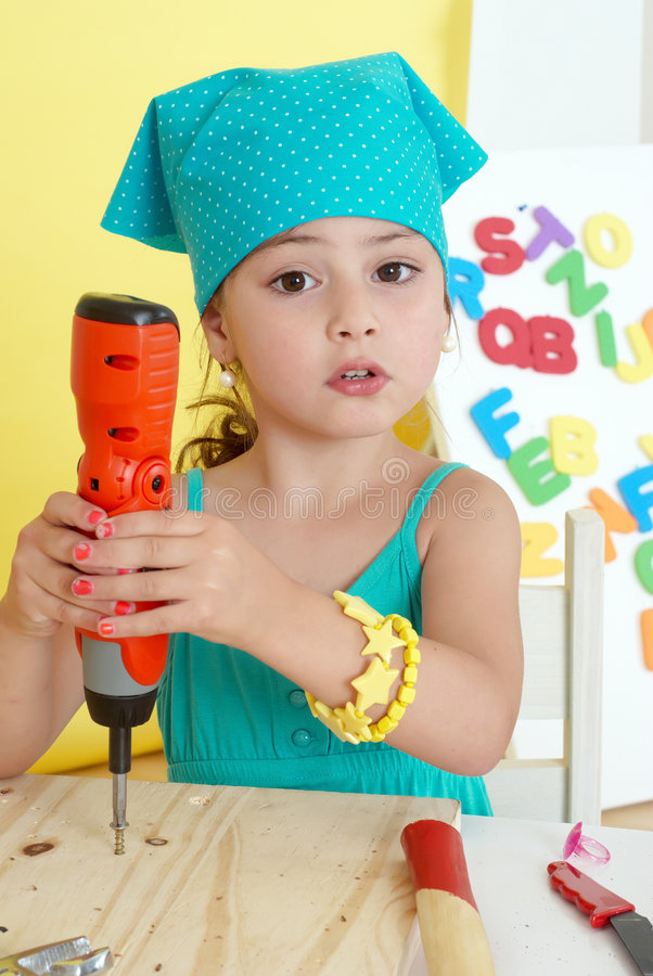 Little Girls on creative lesson royalty free stock photography