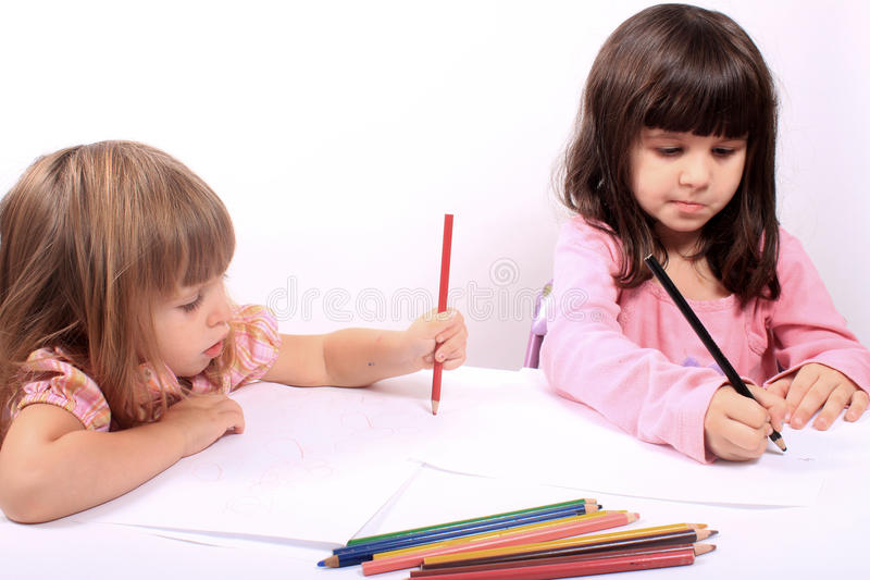 Little girls educational development stock image