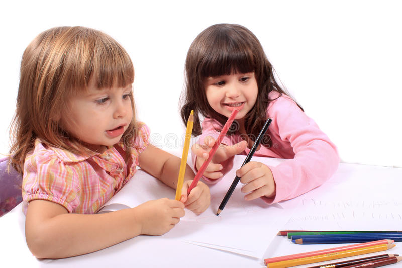 Little girls educational development royalty free stock images