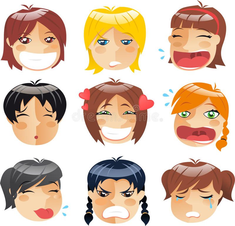 Little girls faces vector illustration