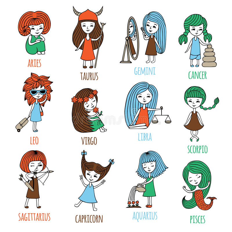 Little girls in the form of zodiac signs. Vector set. The signs of the zodiac are depicted as cute little girls. Hand-drawn stock illustration