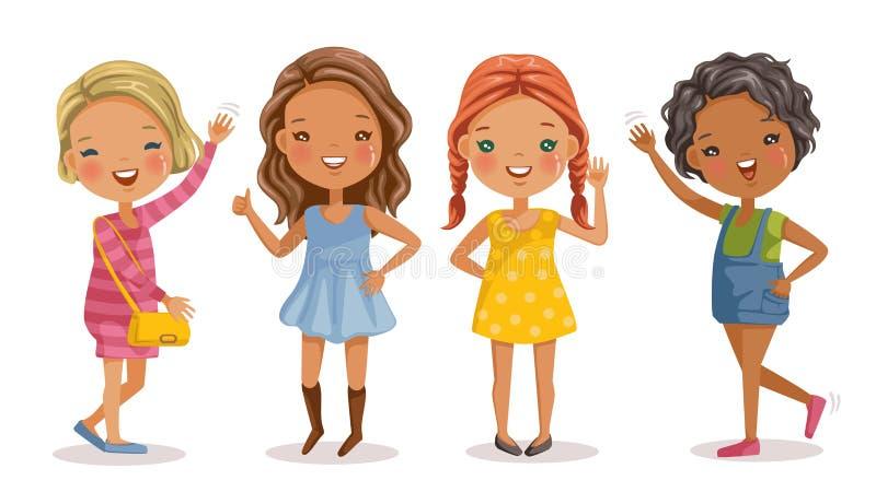 Little girls stock illustration