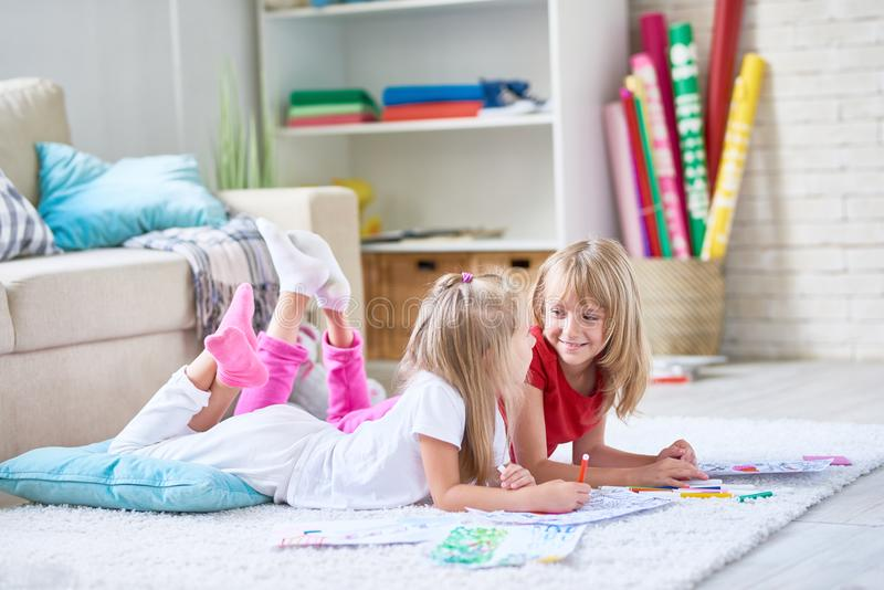 Little Girls Home Alone royalty free stock photos