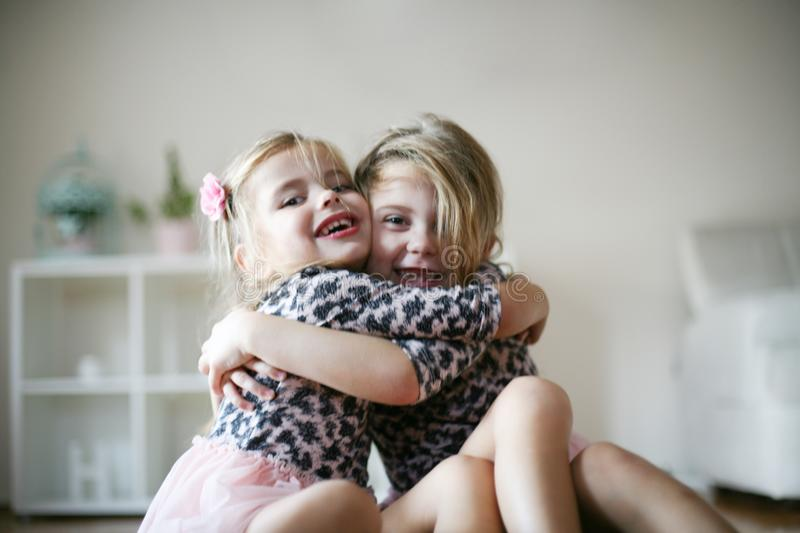 Little girls In hug. royalty free stock photos