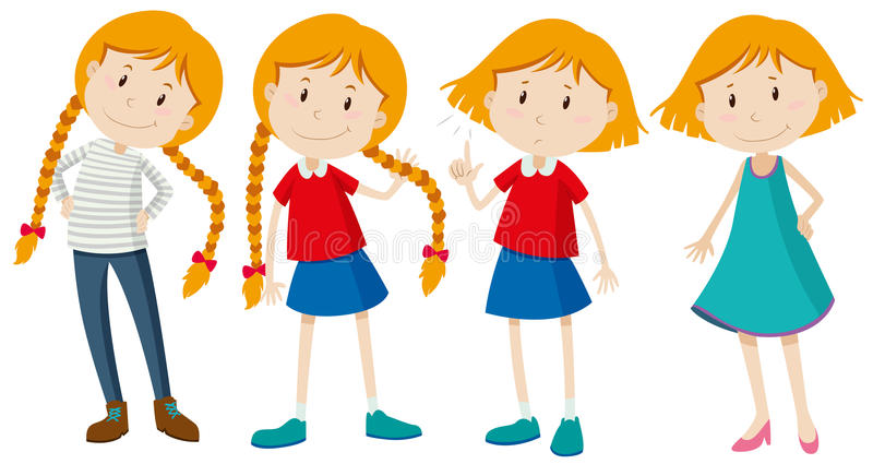 Little Girls With Long And Short Hair Stock Illustration ...