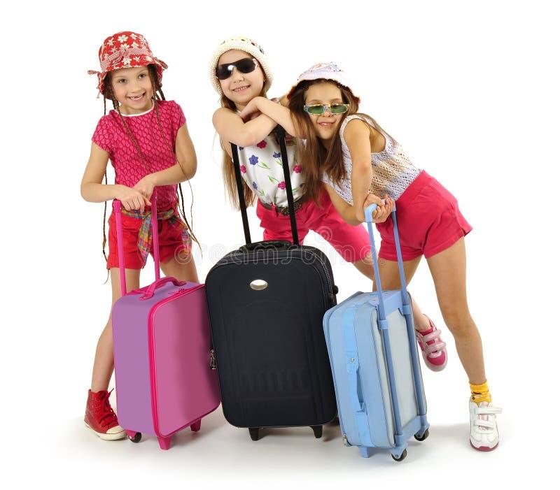 Little girls off on a trip stock photos