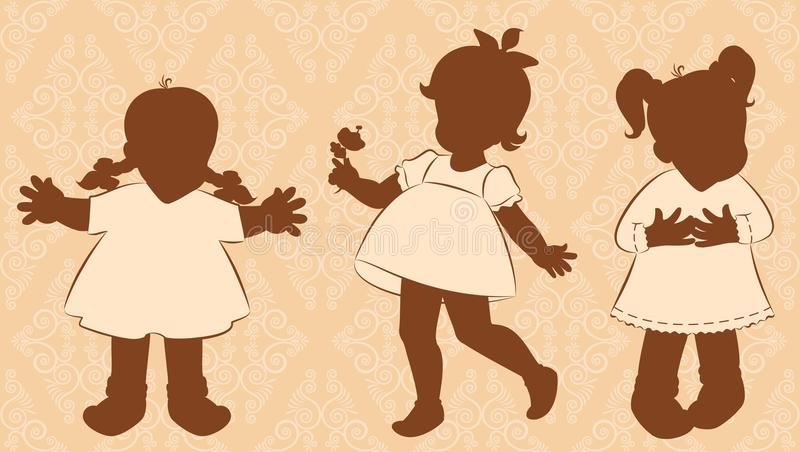 Download Little Girls On The Ornate Background Stock Vector - Image: 20456858
