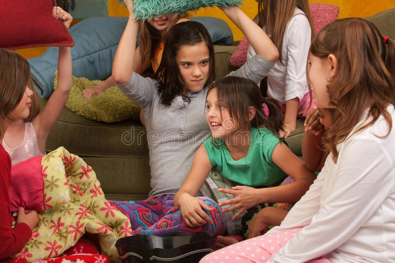 Little Girls Pillowfighting royalty free stock photo
