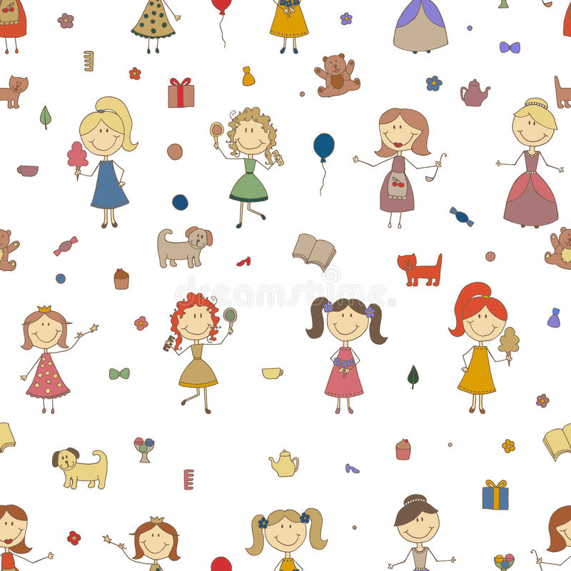 Little girls playing vector. Cartoon drawing of children. Daughter and mother. Girls seamless pattern background. stock illustration