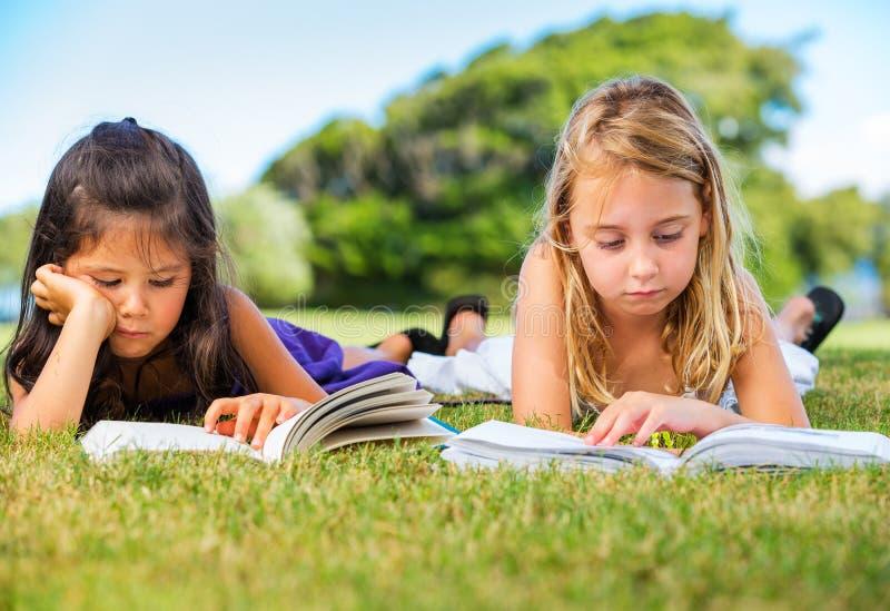 Little Girls Reading Books on Grass stock photography