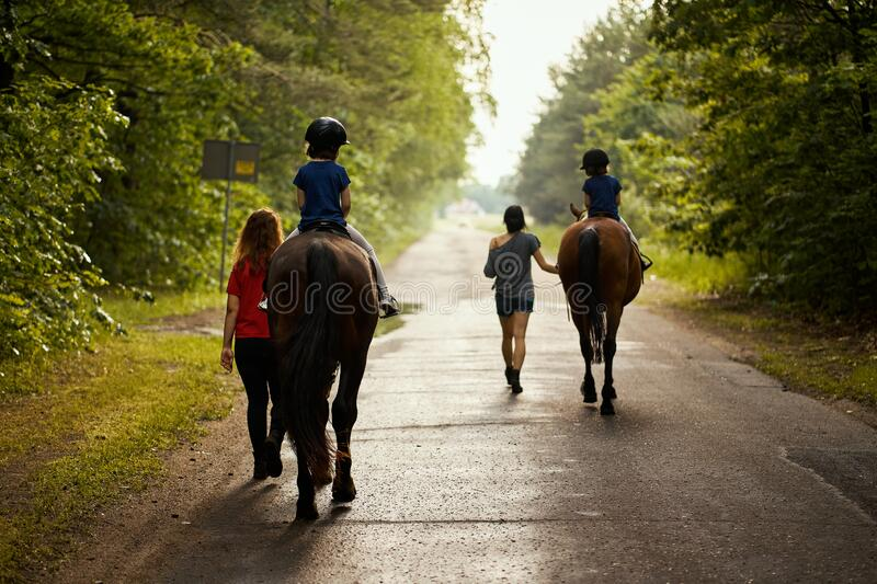 Little girls ride beautiful horses on the road in the forest in summer royalty free stock images