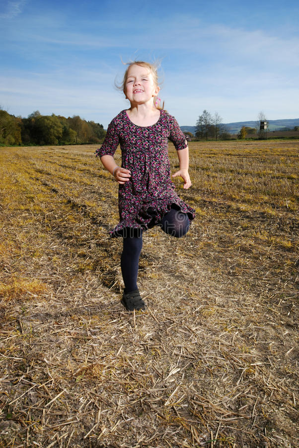 Little Girls Runs Royalty Free Stock Photo