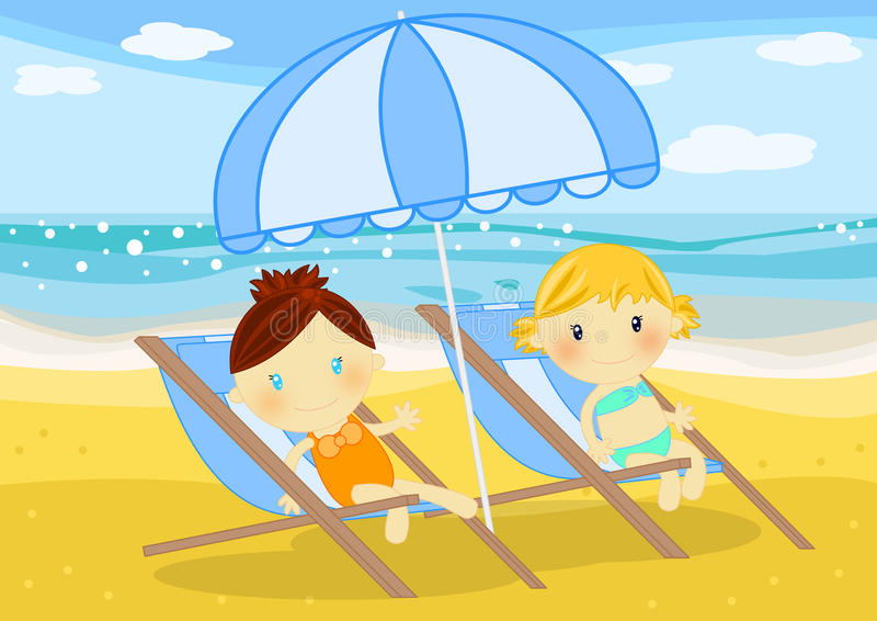Download Little Girls Seated On Deckchairs At Seaside Stock Illustration - Image: 15833195