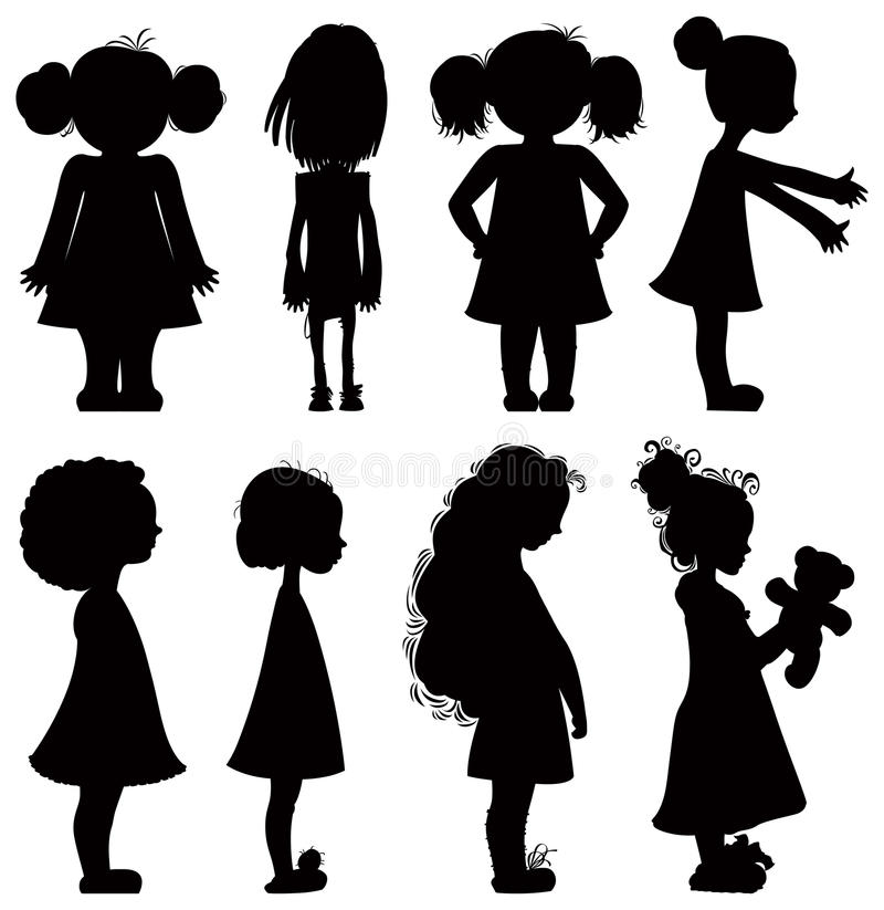 Free Little Girls Silhouettes Set. Royalty Free Stock Image - 18345646