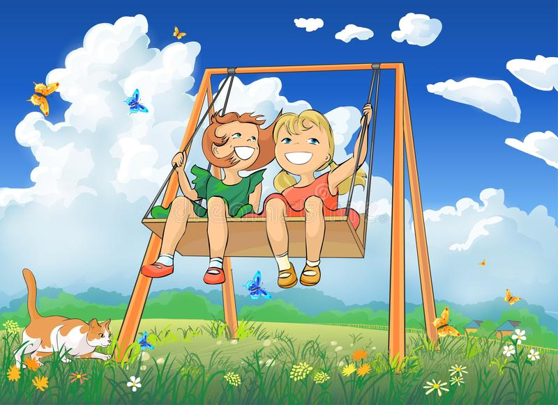 Download Little girls on swing stock illustration. Image of beautiful - 16089101