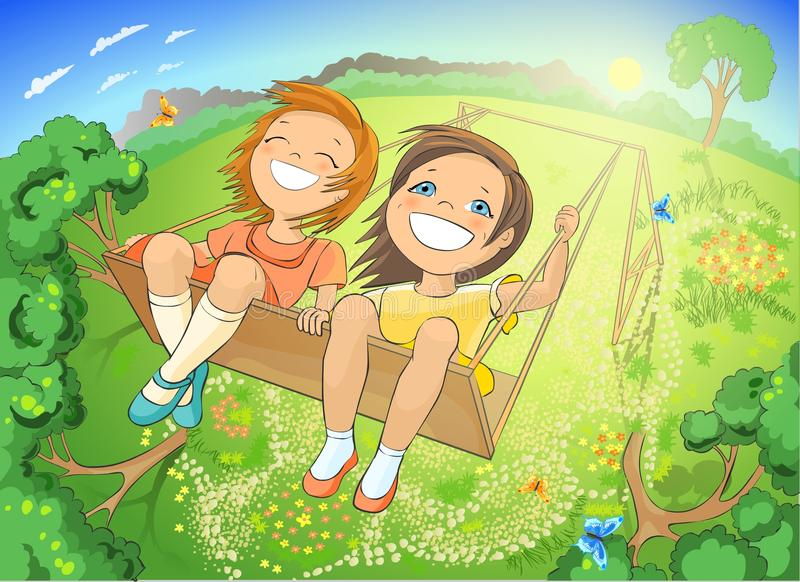 Download Little girls on swing stock illustration. Image of beautiful - 16537234