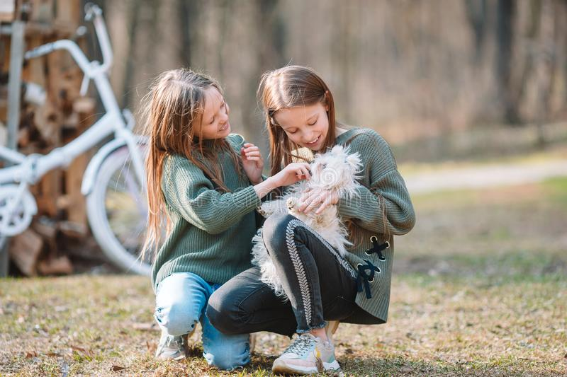 Little girls with a white puppy. A puppy in the hands of a girls. Little smiling girls playing and hugging puppy in the park royalty free stock images