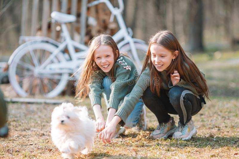 Little girls with a white puppy. A puppy in the hands of a girls. Little smiling girls playing with white puppy in the park royalty free stock images
