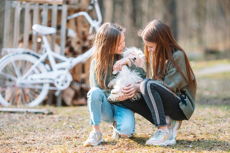 Little girls with a white puppy. A puppy in the hands of a girls. Little smiling girls playing with their white puppy in the park royalty free stock photos