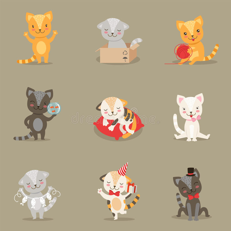 Little Girly Cute Kittens Cartoon Characters Different Activities And Situations Set royalty free illustration