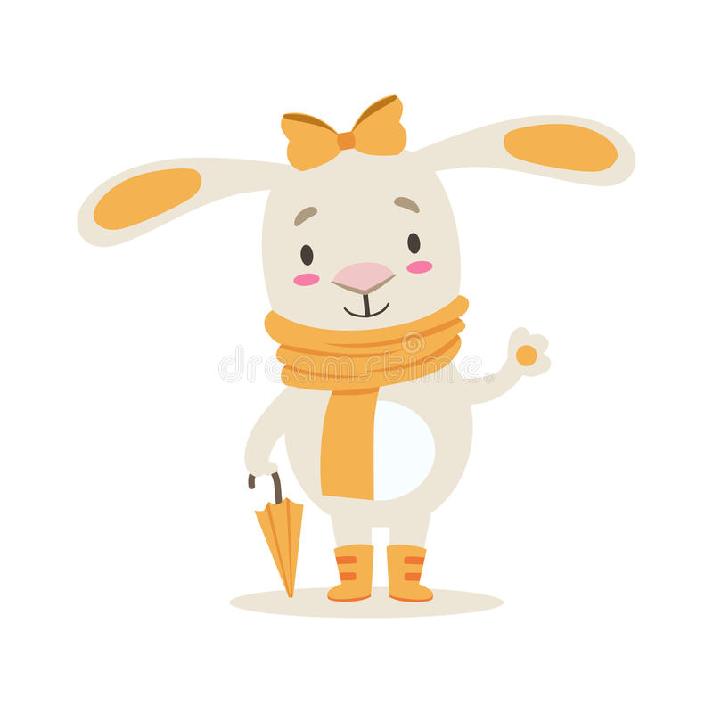 Little Girly Cute White Pet Bunny In Orange Autumn Clothes With Umbrella, Cartoon Character Life Situation Illustration. Humanized Rabbit Baby Animal And Its vector illustration