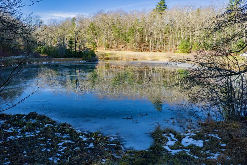 Little Glade Mill Pond - 3. Blue Ridge Parkway, NC – December 19th: A view of a frozen Little Glade Mill Pond located on the Blue Ridge Mountains at mile 230.1 stock photo