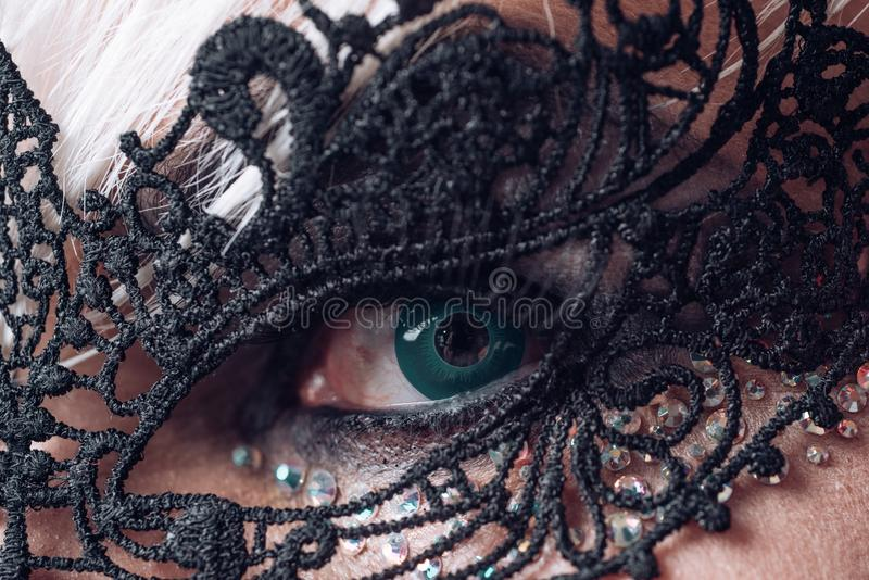 A little glam and style. Heterosexual man with male makeup. Glamorous trashy look. Fetish fashion. Transgender man wear. Lace mask. BDSM fashion accessory royalty free stock images