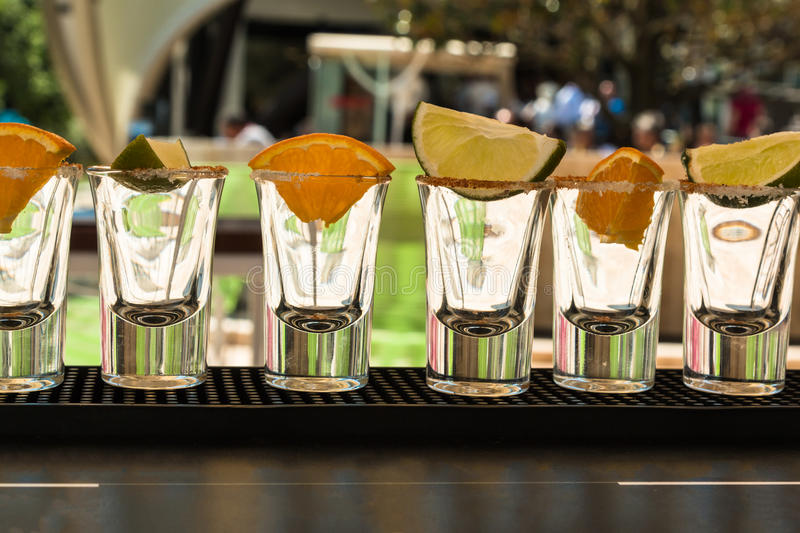 Little Glasses in Line with Orange and Lime Slices Ready to Tequila Shots royalty free stock photography