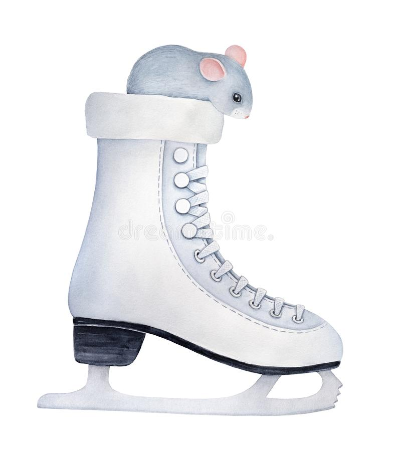 Little gray mouse with big black eyes and cute pink ears sitting inside ice skate and looking down. royalty free illustration