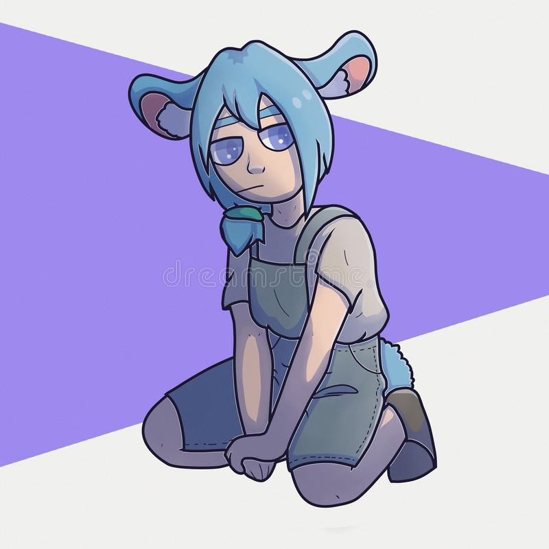 Little gray mouse. Girl mouse. vector illustration