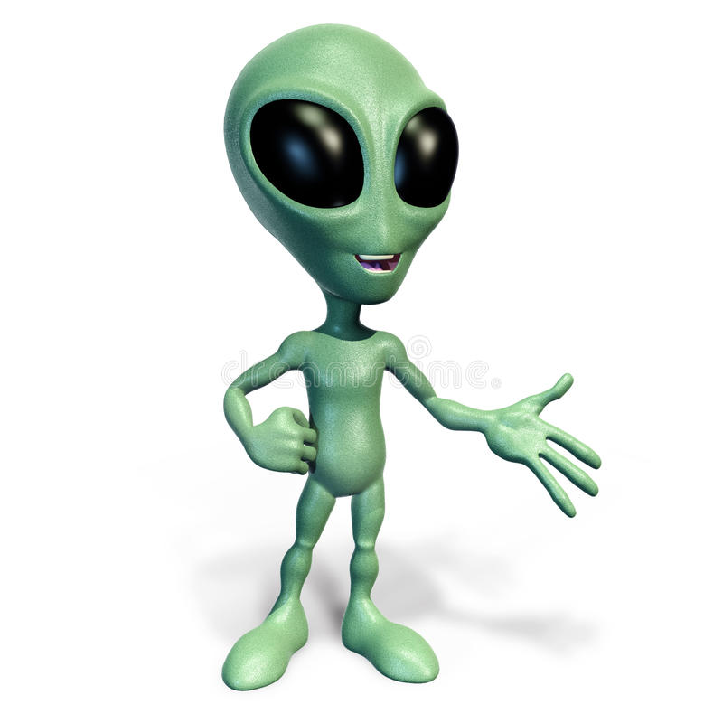 Free Little Green Alien Presenting Royalty Free Stock Photo - 25277785