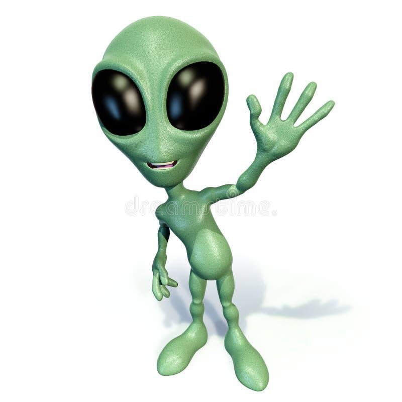 Little green alien waving vector illustration