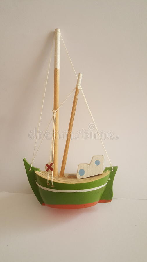 Little green boat stock photography