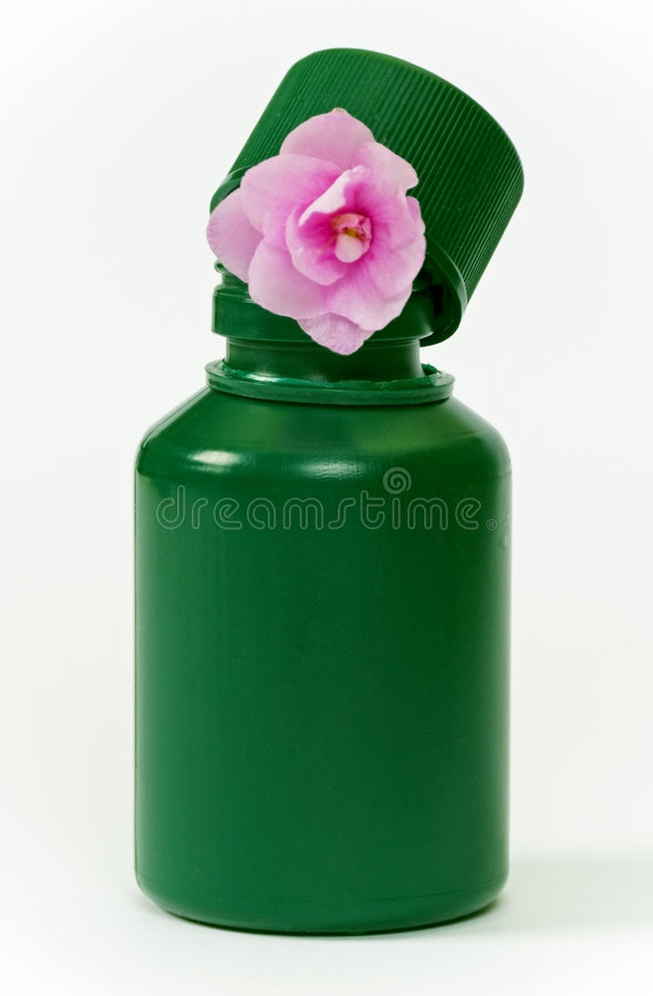 Little green bottle and pink flower royalty free stock image