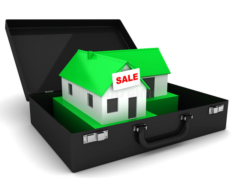 Little green house for Sale and case royalty free illustration
