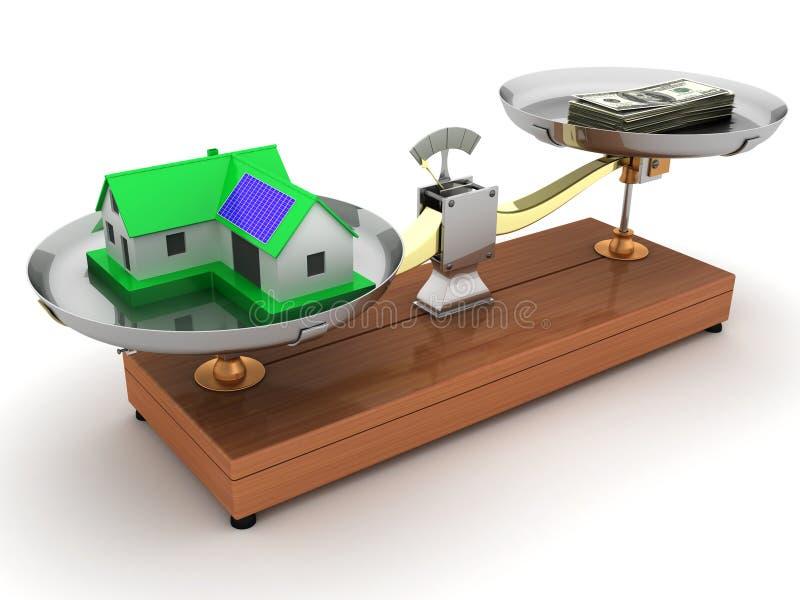 Little green house on weight vector illustration