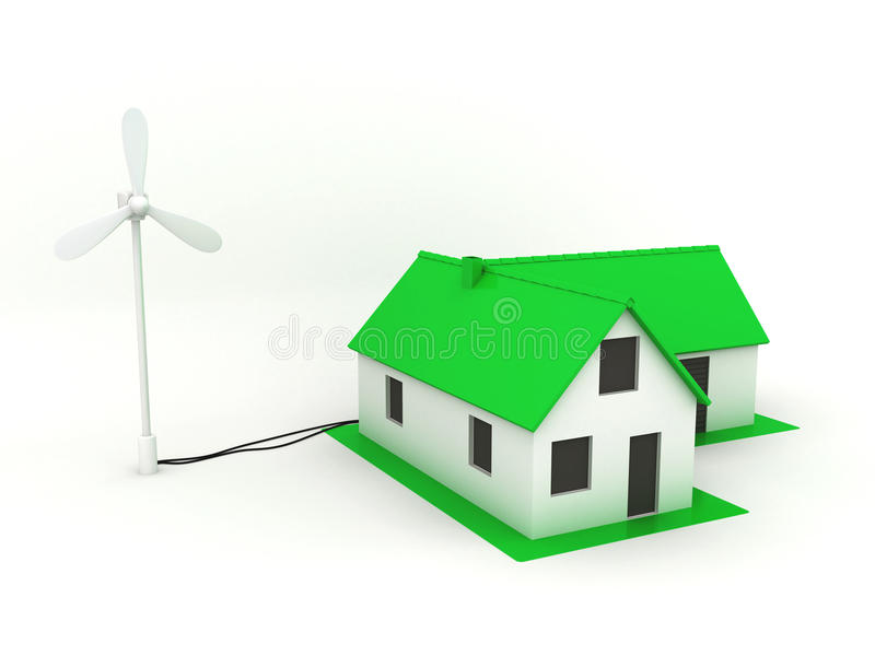 Little green house with windmill. vector illustration