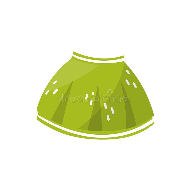 Little green skirt for toddler girl. Children s clothing. Stylish kids garment. Element for infographic about preparing. For motherhood. Colorful flat vector vector illustration