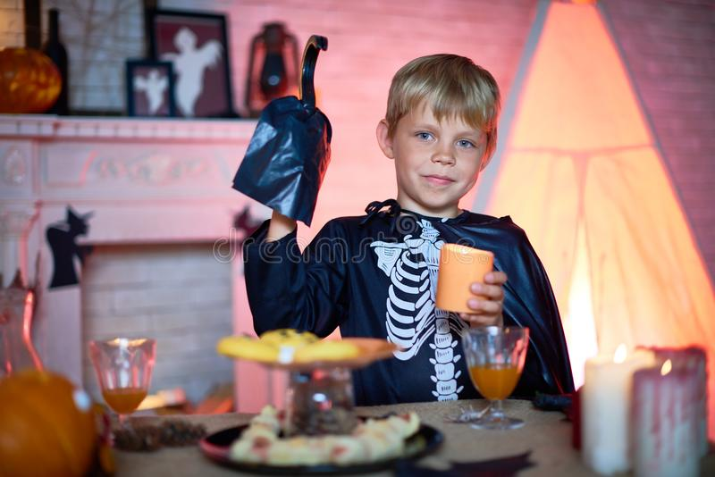 Little Guest of Halloween Party royalty free stock photos