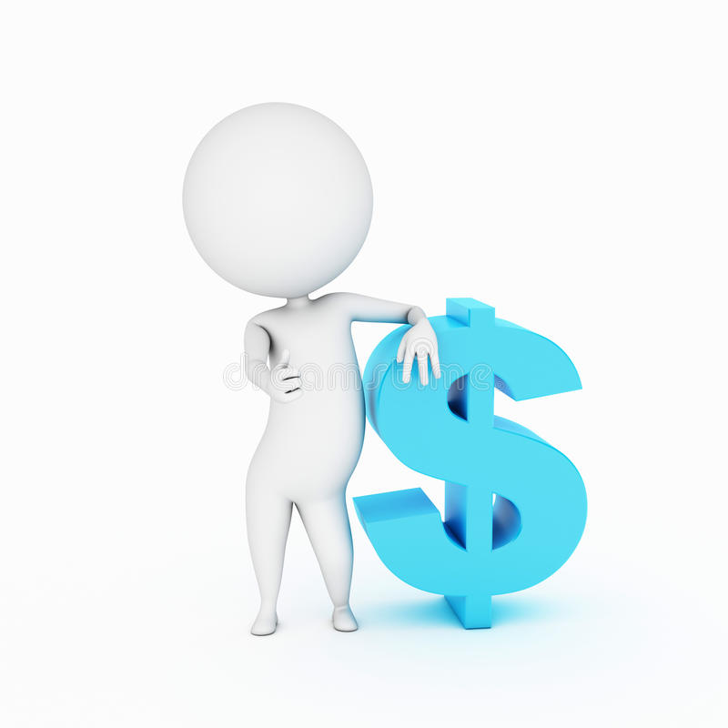Download Little Guy With A Dollar Sign Stock Illustration - Illustration: 19132851