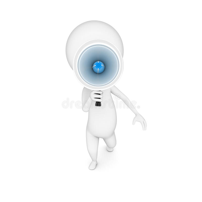 Little guy with a megaphone royalty free illustration