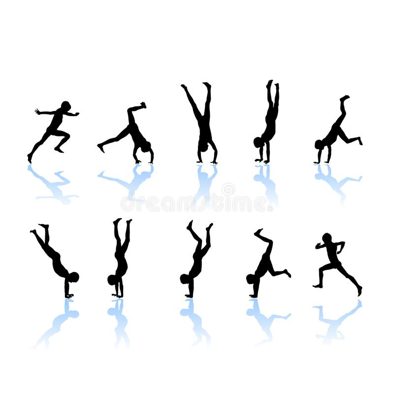 download little gymnast silhouettes stock vector image of athlete 17017754