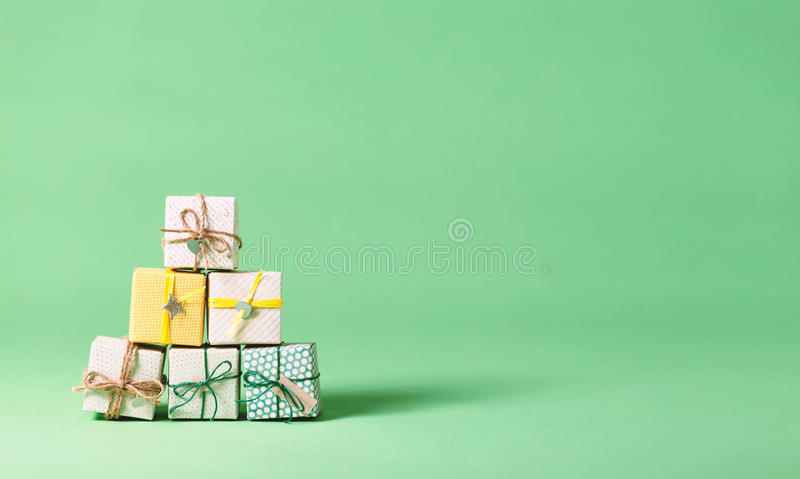 Little handmade gift boxes royalty free stock photo