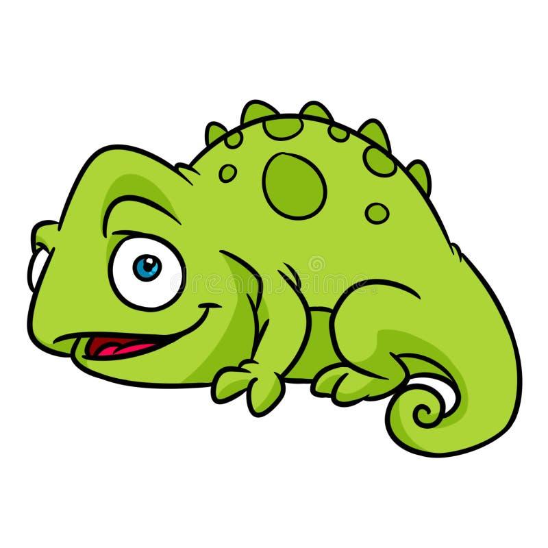Little happy chameleon lizard animal character cartoon illustration royalty free illustration