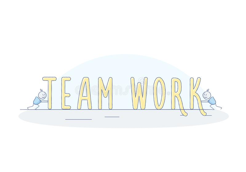 Little happy characters working as a team to make the word Teamwork. Vector doodle Teamwork concept stock illustration