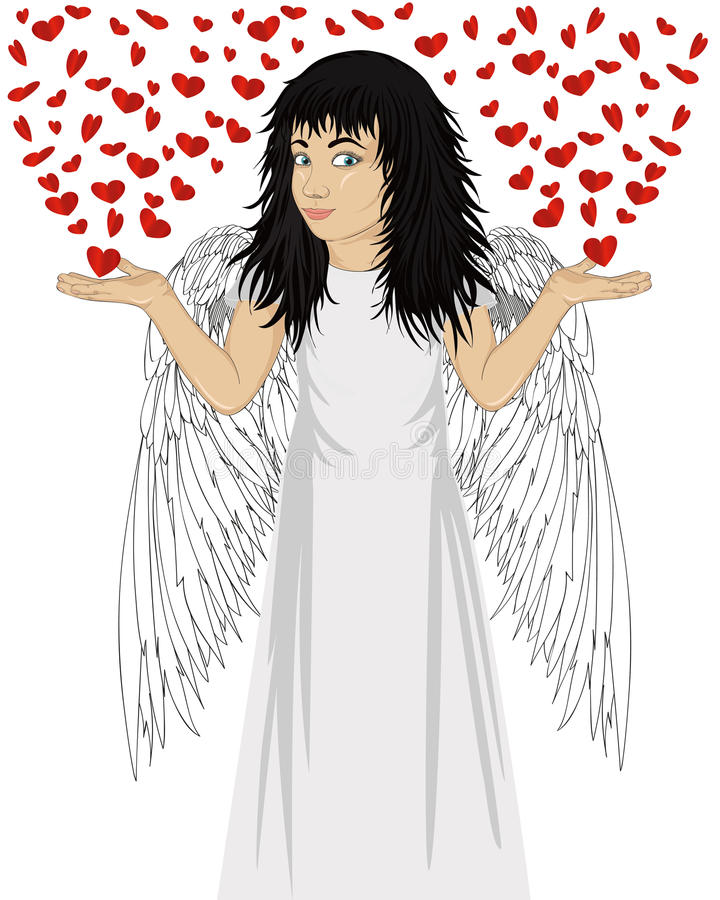 Little happy girl with angel wings beautiful, showing gesture. With both hands with open palms from which fly hearts. Valentine`s Day Portrait of a child in a vector illustration